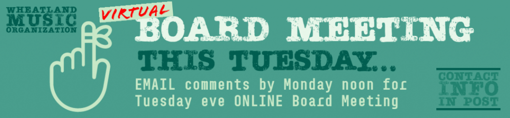 Board Meeting This Tuesday (ONLINE)